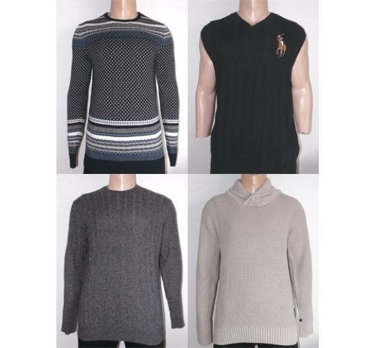 One Off Lot of 10 Assorted Mens Knitted Jumpers Various Designs Sizes & Styles