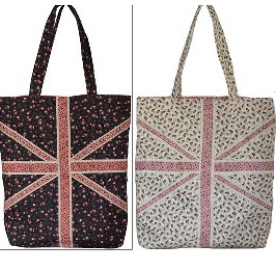 Parcel of 20 x Union Jack Floral Material shoulder tote/handbags-9302