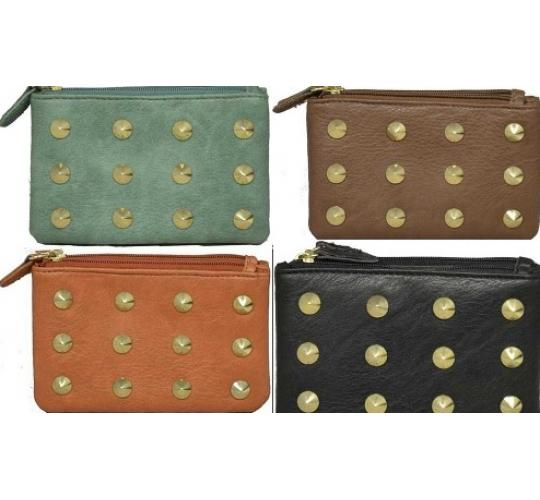 Wholesale Parcel Of 48 Mixed Faux Leather Double Zipped Purses