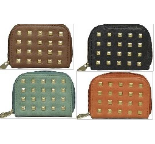 Clearance Parcel Of 48 Mixed Zipped Purses Gold Square Stud Detail-50508