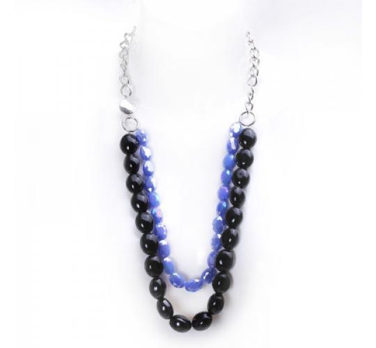 VIS Moment, 9x Fiji - Black Seashell, Diamond Cut Metallic Blue Glass Chain Necklace, RRP: £585