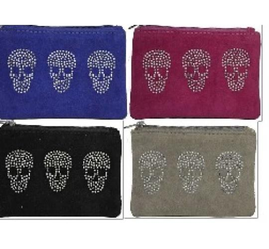 Clearance Parcel of 48 Mixed Skull Zipped Penny Purses-50516