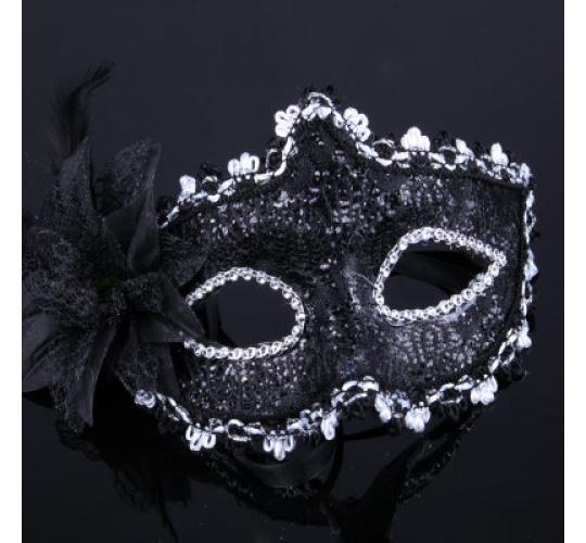 Crystal Lace Venetian Style Masquerade Mask - Fancy Dress Costume