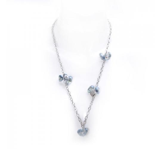 VIS Moment, 24x Quartz Light Blue Natural Crystal Cluster Rhodium Chain with Heart Necklace/Bracelet, RRP- £852