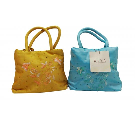 Wholesale Joblot Of 10 Blue And Gold Handcrafted Embroidered Bags