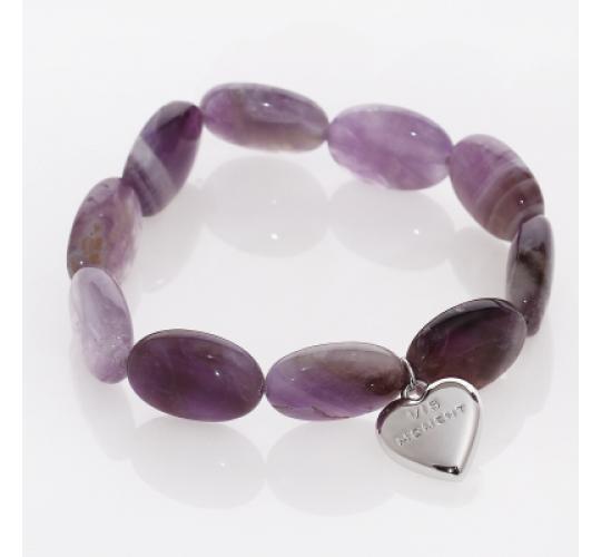 VIS Moment, Zagora - 42x Amethyst Quartz Natural Crystal Heart Bracelet RRP-£842