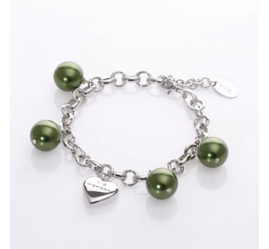 VIS Moment, 48x Fiji - Green Seashell and Heart Chain Charm, RRP: £816