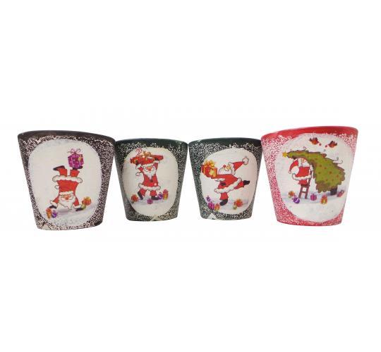 Wholesale Joblot Of 96 Christmas Santa Claus Ceramic Pots In 3 Colours