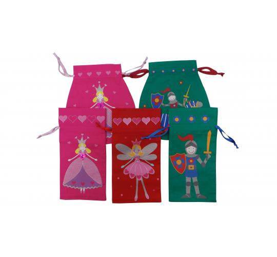 Wholesale Joblot Of 100 Princess, Knight And Fairy Drawstring Party Pouches