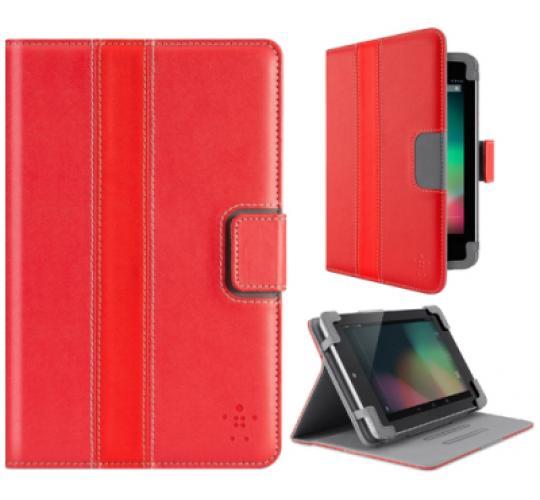 100 X Belkin Google Nexus 7 Cinema Stripe Leather Flip Folio Case/Cover with Stand - Red F7P035vfC01