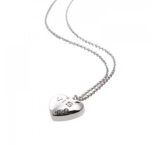 VIS Moment, 47x Causeway - VIS Heart Rhodium 3 Crystal Necklace, RRP: £1175