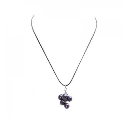 VIS Moment, 21x Fiji - Bronze Glass Pearl Cluster, Black Cord Necklace, RRP: £357