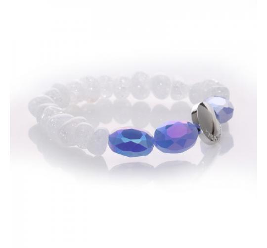 VIS Moment, 19x Zagora - Frosted Quartz Crystal, Diamond Cut Metallic Blue Glass Bracelet RRP-£323