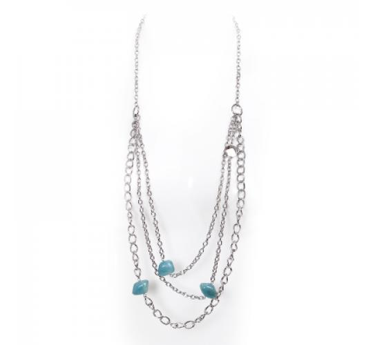 VIS Moment, Zagora - 11x Zagora - Amazonite Natural Crystal 3 Length Chain Necklace RRP-£451