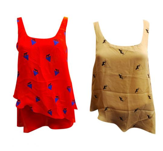Wholesale Joblot of 10 Ladies Wondaland Panther Vest Tops Sand and Red