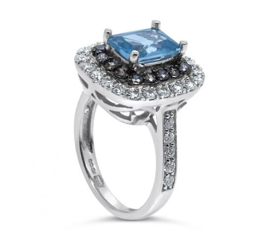 925 Sterling Silver UK Hallmarked Swarovski Elements Clear and Blue Topaz Ladies Ring