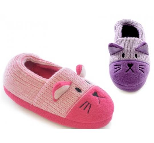 Clearance parcel of 24 Girls Knitted Cat Full Back Slippers -FT0495