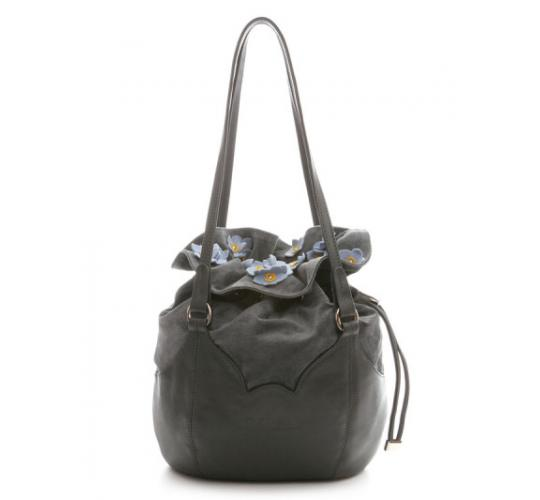 Forget-me-not  Grey Leather and Suede handbags