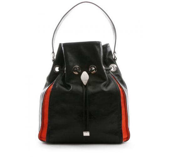 Boxi Black and orange leather and suede handbags