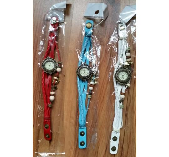 Retro Antique Style Leather Wrap Around Watch with Angel Love Heart Lucky Charm 20 Watches per lot