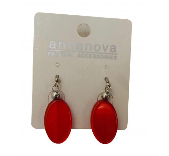 One Off Joblot of 18 Anna Nova Red Oval Earings With Silver Beads 10915S-E