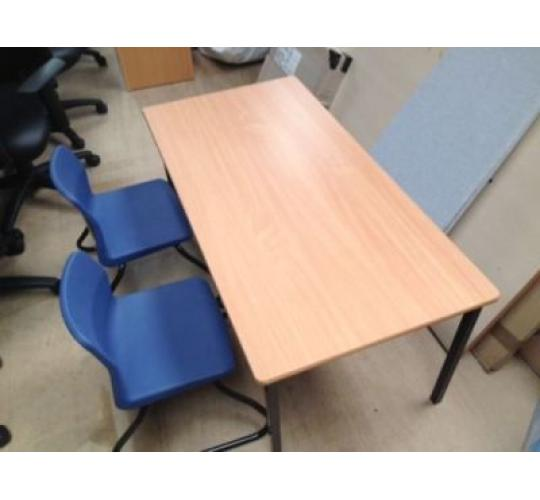28 Childrens Wooden Desks & 56 Blue Stackable Chairs