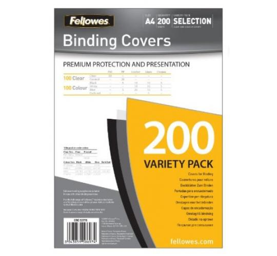 Fellowes 53778 Binding Covers Variety Packs - 200 packs