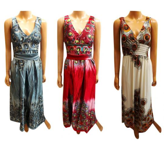 One Off Joblot of 11 Ladies ALC Peacock Feather Maxi Dresses