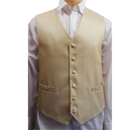 One Off Joblot of 12 Mens Gold Stripe Waistcoats Ex Wedding Hire 27