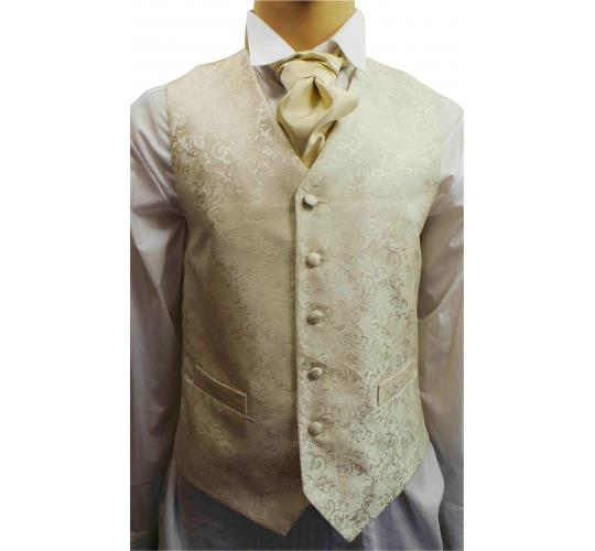 One Off Joblot of 7 Mens Ivory Leaf Waistcoats With Ties & Cravats Ex Hire 20