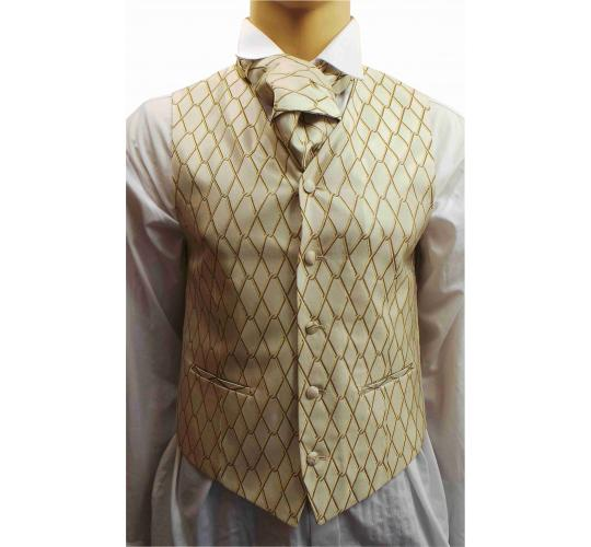 Wholesale Joblot of 5 Mens Wilvorst Gold on Gold Waistcoats Ex Hire 33