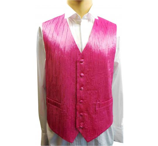 One Off Joblot of 7 Mens Pink Crinkle Waistcoats Ex Wedding Hire 25