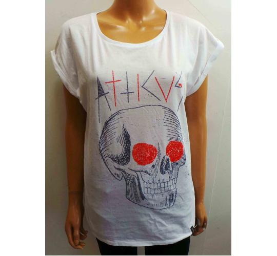 Wholesale Joblot of 10 Ladies Atticus White Skull T-Shirts Sizes S & M