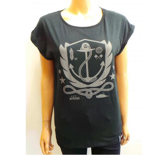 One Off Joblot of 6 Ladies Atticus Black Anchor Tees Size Small