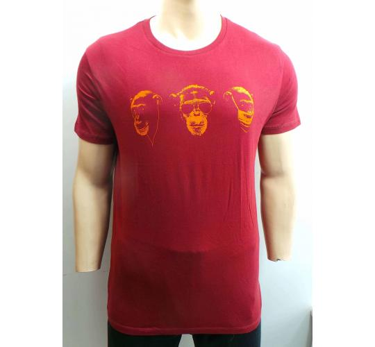 Wholesale Joblot of 10 Mens Beckett Beckett 3 Wise Monkeys Red/Orange T-Shirts