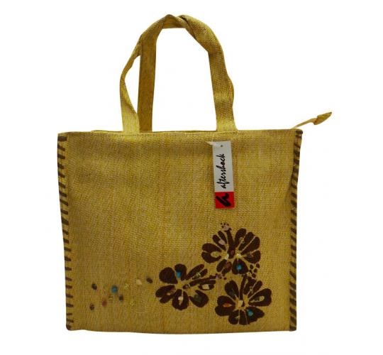 Wholesale Joblot of 10 Woven Beige Shopper Bags With Hibiscus Flower Print