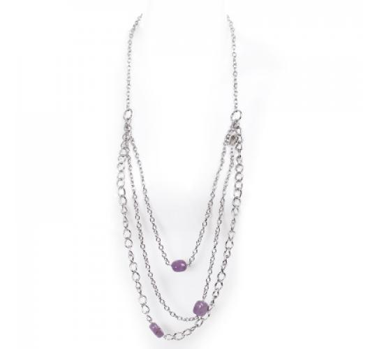VIS Moment, Zagora - 40x Amethyst & Amazonite Natural Crystal Chain Necklace RRP-£1734