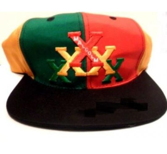 WHOLESALE JOB LOT x 20 MALCOLM X SNAPBACK EMBROIDERED RASTA COLOURS HATS