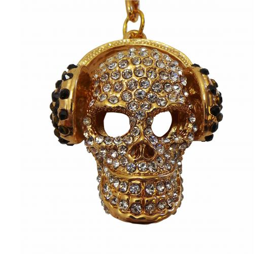 Wholesale Joblot of 10 Shimla Keychains Crystal Studded Golden Skulls SH736