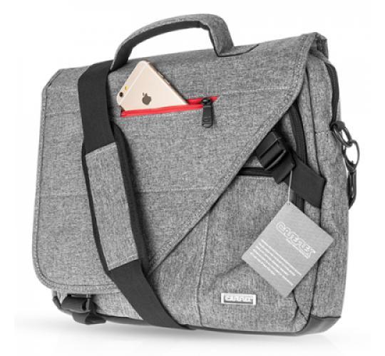 10 x Caseflex Messenger Bag - Grey Linen Shoulder Bag - Grey