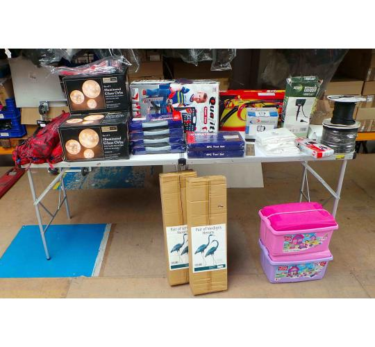 Joblot of 40 Miscellaneous Items Tools Toys Summer Shelters Household Items Etc