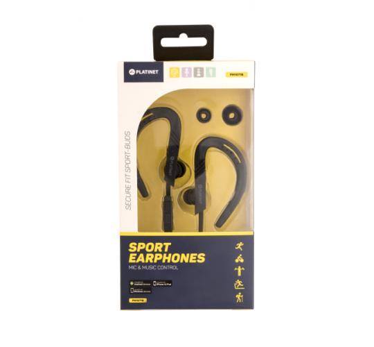 One Off Joblot of 50 Sports Earphones with Flexible Ear Hook (Colour: BLACK)