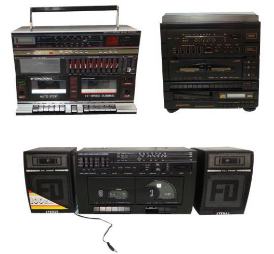 One Off Joblot of 34 Vintage Boombox Units and Speakers Osaka Hifi Maxim