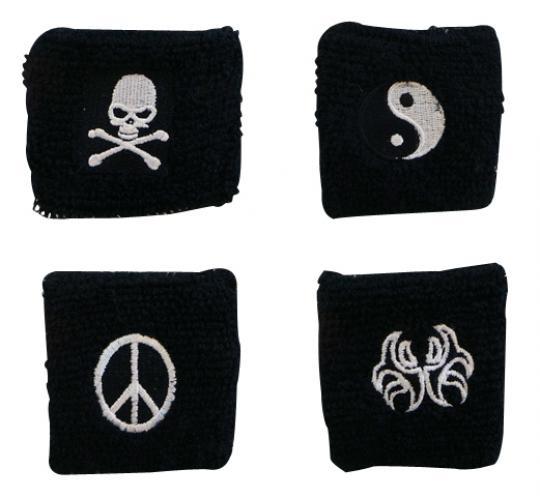 Wholesale Joblot of 96 Black Sweatbands 4 Styles Skull Peace Yin Yang