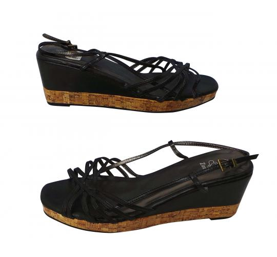 One Off Joblot of 13 Ladies Simulated Cork Wedge Shoes Black Size 9