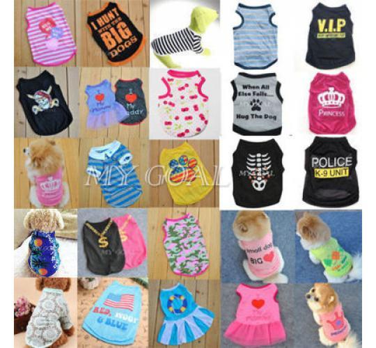 Bulk Lot - Pet Clothes Dog, Puppy Outfits, Vest T-Shirt Coat Dress Apparel - NEW