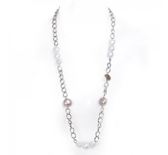 VIS Moment, 30x Fiji - Cream Seashell, Large Tan Seashell Rhodium Chain Necklace Bracelet RRP: £1082