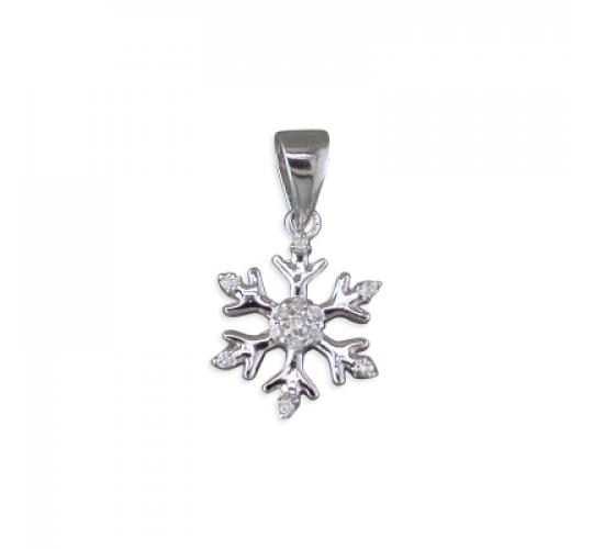 925 Sterling Silver Snowflake Pendant with CZ x 14