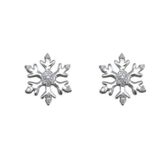 925 Sterling Silver Snowflake Stud Earrings with CZ x 13