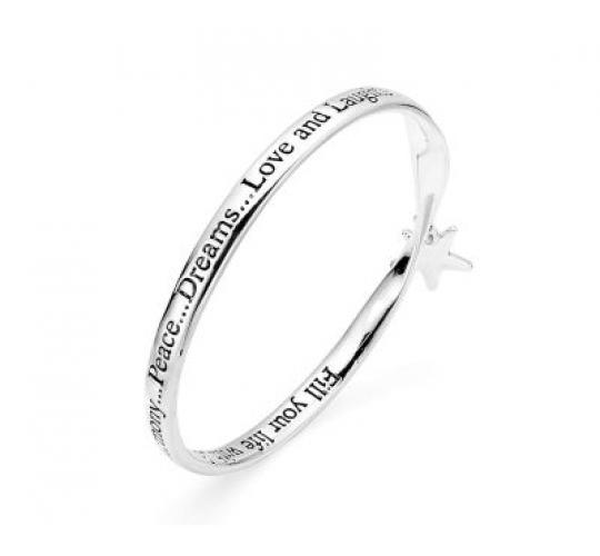 Engraved Bangle with Star Charm x 18